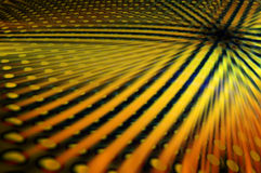 Crossing lines and circles. Abstract background made of yellow and orange crossing lines and circles underneath royalty free illustration