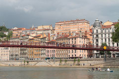 Crossing of Lyon on Saone River Royalty Free Stock Images