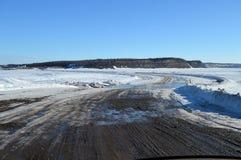 Crossing the MacKenzie River Ice Bridge Stock Image