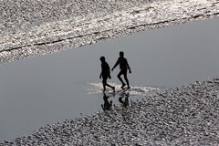Crossing Malta river, West Bengal, India Royalty Free Stock Photography