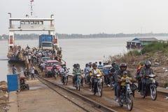 Crossing Mekong river Stock Photos