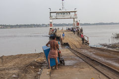 Crossing Mekong river Stock Photography