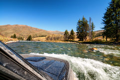 Crossing mountain river in the Kazakhstan Royalty Free Stock Photo
