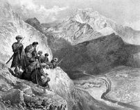 Crossing the mountains of Dagestan. Illustration for the Emperor Nicholas 1. Paris 1841 Stock Photography