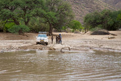 Crossing Of A River By 4x4 Royalty Free Stock Photography