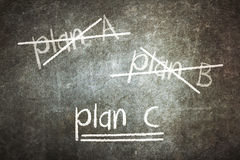 Crossing out Plan A and Plan B and writing Plan C Stock Photos