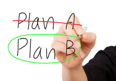 Crossing out Plan A and writing Plan B Royalty Free Stock Photos