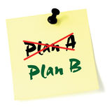 Crossing out Plan A, writing Plan B, Yellow Post-It Style Sticky Note Macro Closeup, Large Detailed Thumbtacked Sticker Adhesive Royalty Free Stock Photos