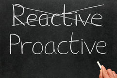Crossing out reactive and writing proactive. Crossing out reactive and writing proactive on a blackboard Royalty Free Stock Photo