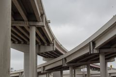Crossing overpasses on an overcast day. Several interstate overpasses crossing over one another on an overcast day; St Petersburge, FL Royalty Free Stock Photos