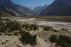 Crossing the path. Paths on the way in biafo-hispar trek,this part is the same for K2 trek Stock Photos