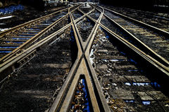 Crossing rail track in outside Royalty Free Stock Images