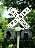 Crossing railroad. The train is arriving royalty free stock photo