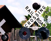 Crossing railroad. Take care royalty free stock photography
