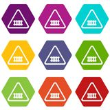 Crossing railroad barrier icons set 9 vector. Crossing railroad barrier icons 9 set coloful isolated on white for web royalty free illustration