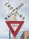 Crossing railroad street sign. Crossing railroad yield street sign Stock Images