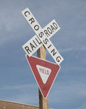 Crossing railroad street sign. Crossing railroad yield street sign Royalty Free Stock Photography