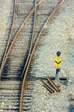 Crossing railroad track and railway sign Stock Photos