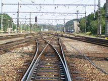 Crossing of the railroad tracks. Photo of the train tracks Stock Photos