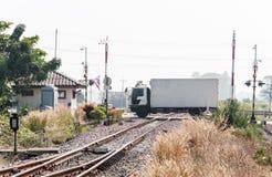 Crossing the railway Stock Photo