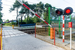Crossing the railway track Stock Image