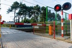 Crossing the railway track Stock Photo