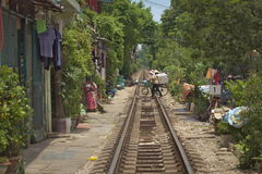 Crossing the railway Stock Photography