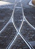 Crossing railways in focus Stock Photos