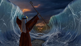 Crossing the Red Sea with Moses. Moses Exodus Route. Crossing the red sea. Part of biblical narrative - escape Israelites. Big waves as open ocean under the vector illustration