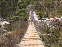 Crossing the river 2. Wood bridge over a river in Nepal, Kumbhu valley Royalty Free Stock Photos