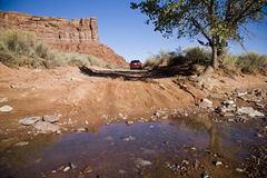 Crossing the river. Valley of the gods in Utah, USA Stock Photos