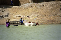 Crossing the river, Bani River, Mali Stock Photos