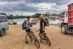 Crossing the river called Rio de la Pasion in the small town of Stock Image
