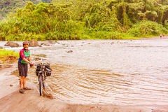 Crossing river in Guanacaste Province of  Costa Rica Royalty Free Stock Photo