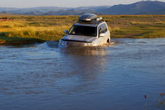 Crossing river in the Mongolia Stock Image