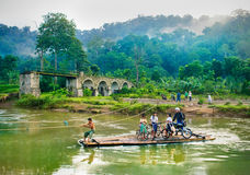 Crossing of the river Sukamade on Java, Indonesia Royalty Free Stock Photography