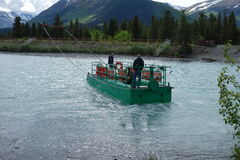 Crossing the russian river in alaska Stock Photography