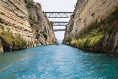 Crossing with a sail boat or yacht trough the Channel of Corinth Royalty Free Stock Image