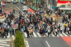 Crossing the Shibuya crosswalk Stock Photography