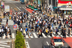 Crossing the Shibuya crosswalk Royalty Free Stock Photo