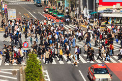 Crossing the Shibuya crosswalk Royalty Free Stock Images