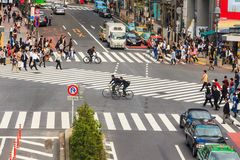 Crossing the Shibuya crosswalk Stock Image