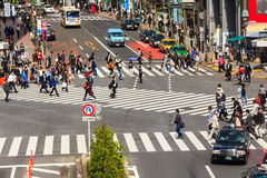 Crossing the Shibuya crosswalk Stock Images