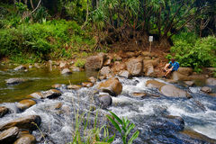 Crossing a small tropical river or stream Royalty Free Stock Photo