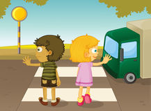 Crossing the street royalty free illustration
