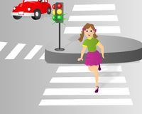 Crossing the street, cdr vector royalty free stock image