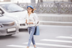 Crossing the street. Stock Photography