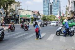 Crossing street Ho Chi Minh, Vietnam Stock Image