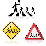 Crossing the street. Icon illustration showing a crossing guard with a stop sign and children crossing the street Stock Photos