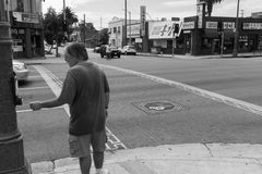 Crossing street Los Angeles, Black and White Royalty Free Stock Image